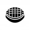 ドーム球場の白黒シルエットイラスト02