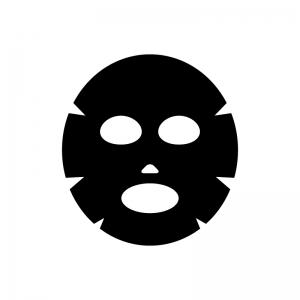 美容パックの白黒シルエットイラスト02