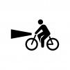 自転車のライト点灯の白黒シルエットイラスト