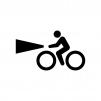 自転車のライト点灯の白黒シルエットイラスト02