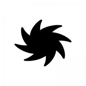 ブラックホールの白黒シルエットイラスト