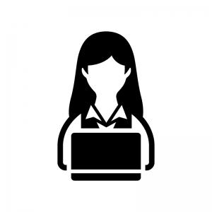 デスクワーク・PC作業(女性)の白黒シルエットイラスト