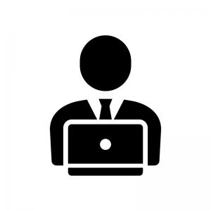 デスクワーク・PC作業の白黒シルエットイラスト02