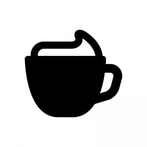 カプチーノ・ウインナーコーヒーの白黒シルエットイラスト