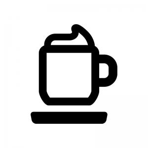 カプチーノ・ウインナーコーヒーの白黒シルエットイラスト02