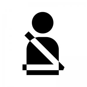シートベルト着用の白黒シルエットイラスト02