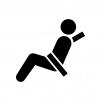 シートベルト着用の白黒シルエットイラスト03