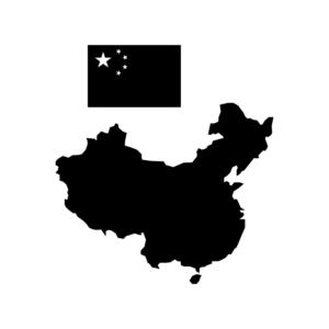 中国(中華人民共和国)の白黒シルエットイラスト02