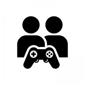 対戦ゲームの白黒シルエットイラスト