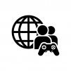 対戦ゲームの白黒シルエットイラスト02