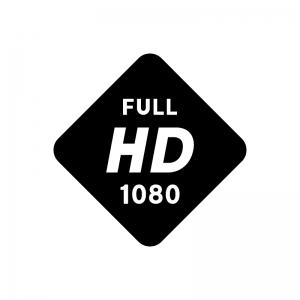フルHD(高精細度ビデオ)(Full High-Definition)の白黒シルエットイラスト