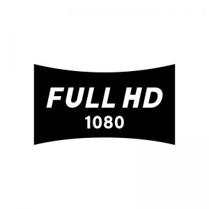 フルHD(高精細度ビデオ)(Full High-Definition)の白黒シルエットイラスト02