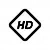 HD(高精細度ビデオ)(High-Definition)の白黒シルエットイラスト