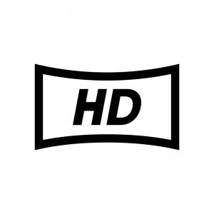 HD(高精細度ビデオ)(High-Definition)の白黒シルエットイラスト02