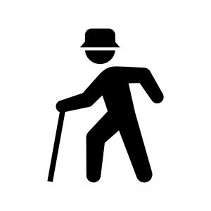 杖をついている年配者(老人)の白黒シルエットイラスト