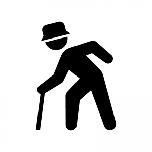 杖をついている年配者(老人)の白黒シルエットイラスト02