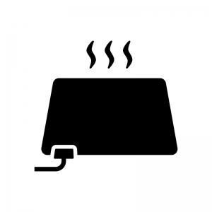 電気カーペット(ホットカーペット)の白黒シルエットイラスト