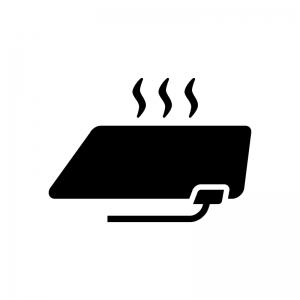 電気カーペット(ホットカーペット)の白黒シルエットイラスト02
