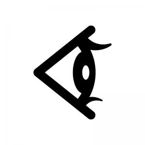 横アングルの目・瞳の白黒シルエットイラスト