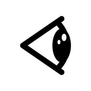 横アングルの目・瞳の白黒シルエットイラスト02