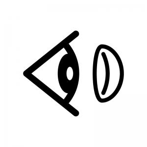 目とコンタクトレンズの白黒シルエットイラスト02