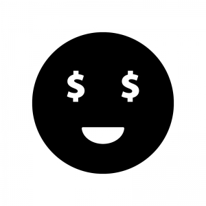 目がドル(お金)の白黒シルエットイラスト