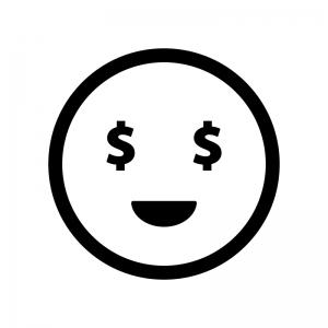 目がドル(お金)の白黒シルエットイラスト02