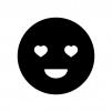 目がハートの白黒シルエットイラスト