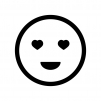 目がハートの白黒シルエットイラスト02