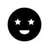 目が星の白黒シルエットイラスト