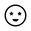 目が星の白黒シルエットイラスト02