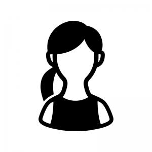 ノースリーブの女性の白黒シルエットイラスト