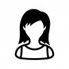 ノースリーブの女性の白黒シルエットイラスト02