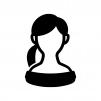 オフショルダーの女性の白黒シルエットイラスト