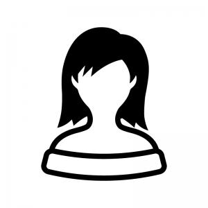 オフショルダーの女性の白黒シルエットイラスト02