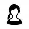 スクエアネックの女性の白黒シルエットイラスト