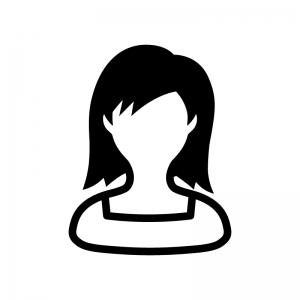スクエアネックの女性の白黒シルエットイラスト02