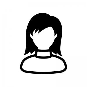 タートルネックの女性の白黒シルエットイラスト