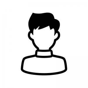 タートルネックの男性の白黒シルエットイラスト