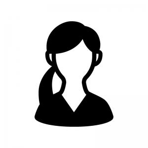 Vネックの女性の白黒シルエットイラスト