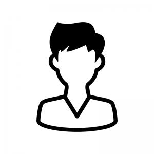Vネックの男性の白黒シルエットイラスト02