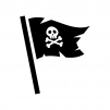 海賊旗の白黒シルエットイラスト