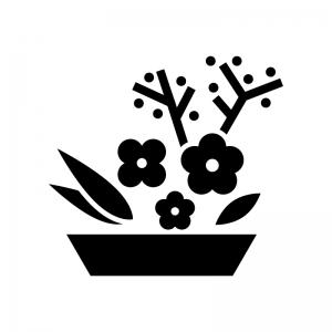 生け花の白黒シルエットイラスト02