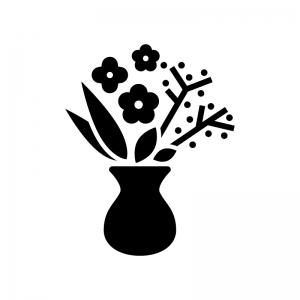 生け花の白黒シルエットイラスト