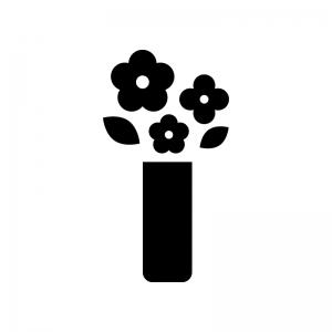 花瓶と花の白黒シルエットイラスト