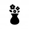 花瓶と花の白黒シルエットイラスト02