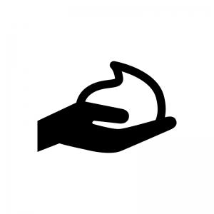 泡石鹸と手の白黒シルエットイラスト