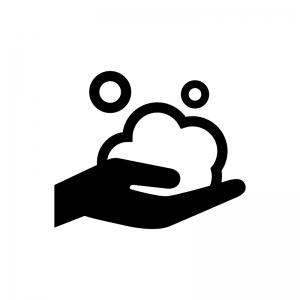 泡石鹸と手の白黒シルエットイラスト02