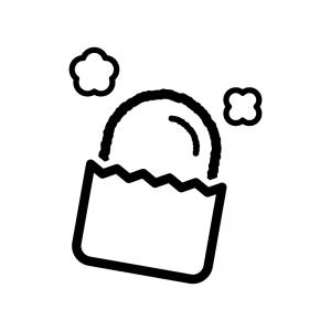 コロッケの白黒シルエットイラスト02