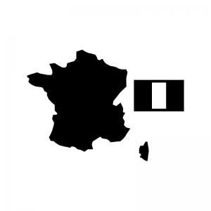 フランスの白黒シルエットイラスト02
